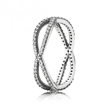 Pandora Crossing Paths Ring, Clear CZ 190930CZ