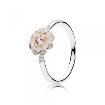 Pandora Blooming Dahlia Ring, Cream Enamel, Clear CZ & Blush Pin