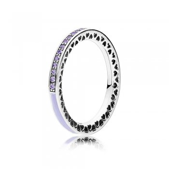Pandora Radiant Hearts of PANDORA Ring, Lavender Enamel & Clear