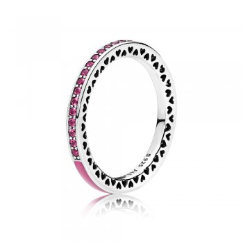 Pandora Radiant Hearts of PANDORA Ring, Radiant Orchid Enamel &