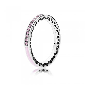 Pandora Radiant Hearts of PANDORA Ring, Light Pink Enamel & Clea