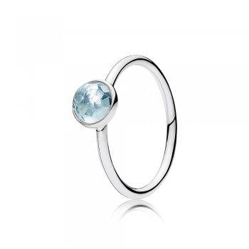 Pandora March Droplet Ring, Aqua Blue Crystal 191012NAB
