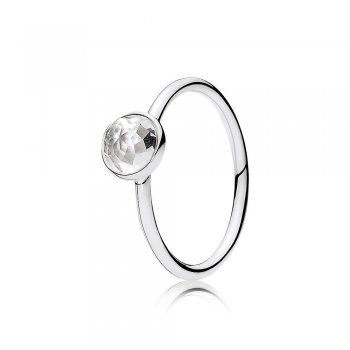 Pandora April Droplet Ring, Rock Crystal 191012RC
