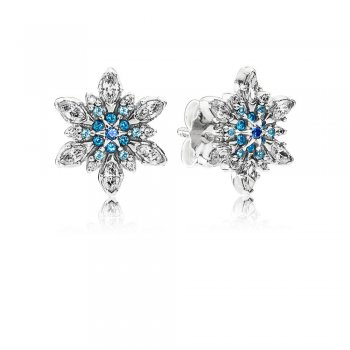 Pandora Snowflake silver stud earrings with mixed blue shades of