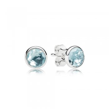 Pandora March Droplets Stud Earrings, Aqua Blue Crystal 290738NA