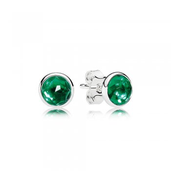 Pandora May Droplets Stud Earrings, Royal-Green Crystal 290738NR