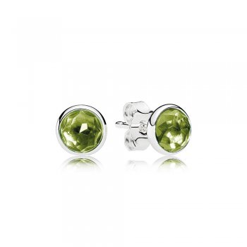 Pandora August Droplets Stud Earrings, Peridot 290738PE