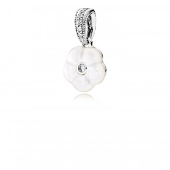 Pandora Luminous Florals Pendant, Mother-Of-Pearl & Clear CZ 390