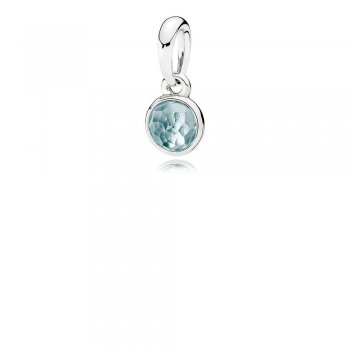 Pandora March Droplet Pendant, Aqua Blue Crystal 390396NAB