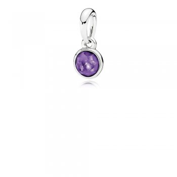 Pandora February Droplet Pendant, Synthetic Amethyst 390396SAM