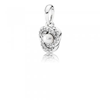 Pandora Luminous Love Knot Pendant, White Crystal Pearl & Clear