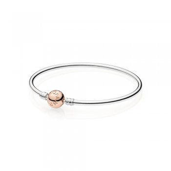 PANDORA MOMENTS Bangle with PANDORA Rose Clasp 580713