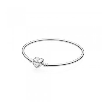 Moments Silver Bangle, Wishful Hear 590729CZ