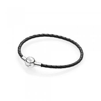 Pandora Moments Single Woven Leather Bracelet, Black 590745CBK