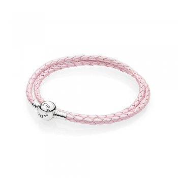 Pandora Pink Braided Double-Leather Charm Bracelet 590745CMP