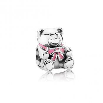 "Pandora ""It's A Girl"" Teddy Bear Charm, Pink Enamel 791124EN24"