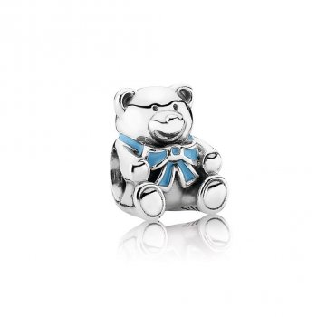 "Pandora ""It's A Boy"" Teddy Bear Charm, Blue Enamel 791124EN41"
