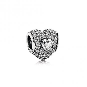 Pandora In My Heart Charm, Clear CZ 791168CZ