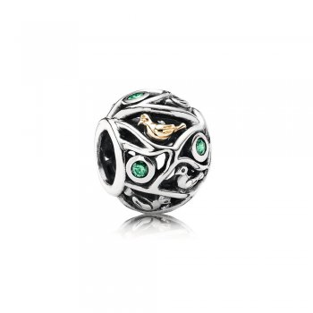Birds in Branches Silver & Gold Charm - PANDORA 791213CZN