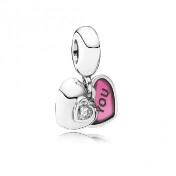 Pandora You & Me, Two-Part Dangle Charm, Clear CZ & Fuchsia Enam