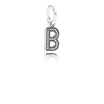 Letter B Dangle Charm, Clear CZ 791314CZ