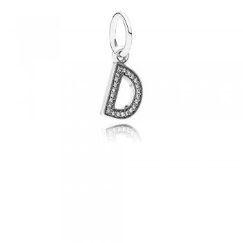 Letter D Dangle Charm, Clear CZ 791316CZ
