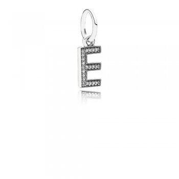 Letter E Dangle Charm, Clear CZ 791317CZ
