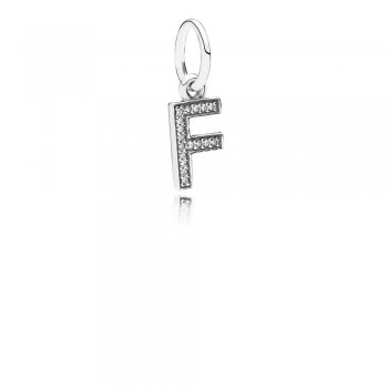Letter F Dangle Charm, Clear CZ 791318CZ