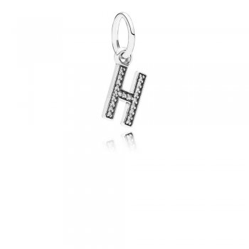 Letter H Dangle Charm, Clear CZ 791320CZ