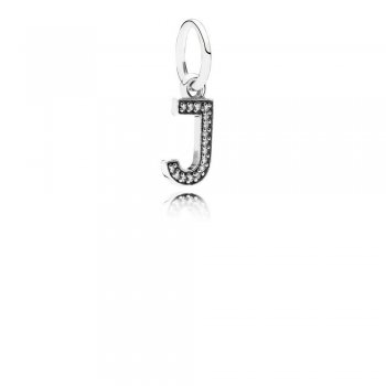 Letter J Dangle Charm, Clear CZ 791322CZ