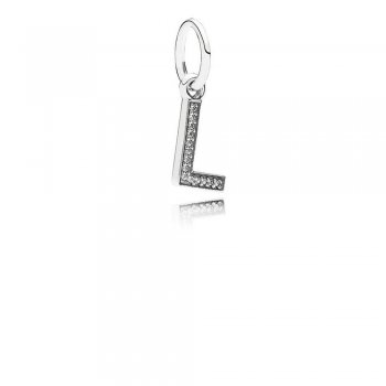 Letter L Dangle Charm, Clear CZ 791324CZ