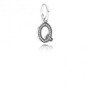 Pandora Letter Q Dangle Charm, Clear CZ 791329CZ