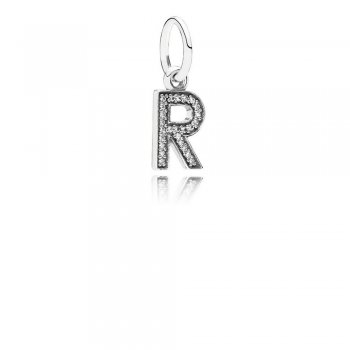 Letter R Dangle Charm, Clear CZ 791330CZ