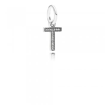Letter T Dangle Charm, Clear CZ 791332CZ