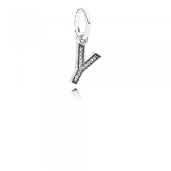 Letter Y Dangle Charm, Clear CZ 791337CZ