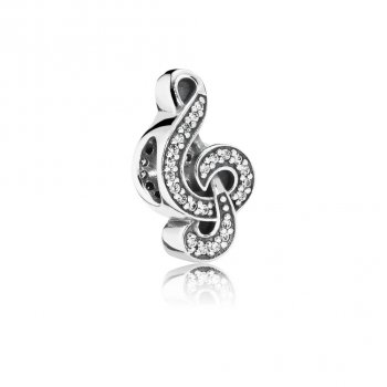 Pandora Sweet Music Treble Clef, Clear CZ 791381CZ