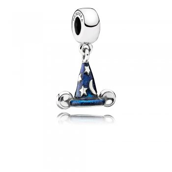 Disney Mickey sorcerer hat silver dangle with blue enamel 791466