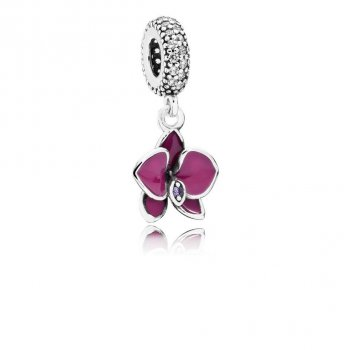 Pandora Orchid Dangle Charm, CZ & Radiant Orchid-Colored Enamel