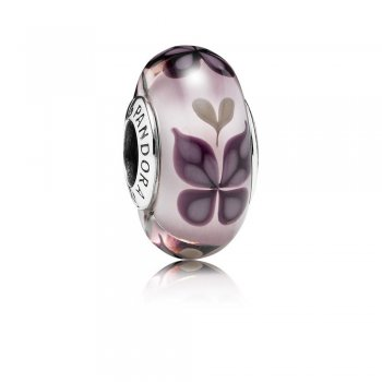 Pink Butterfly Kisses Charm, Murano Glass 791621