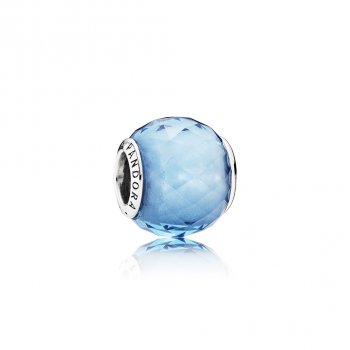 Pandora Geometric Facets Charm, Sky-Blue Crystal 791722NBS
