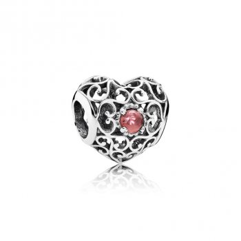 Pandora January Signature Heart Charm, Garnet 791784GR