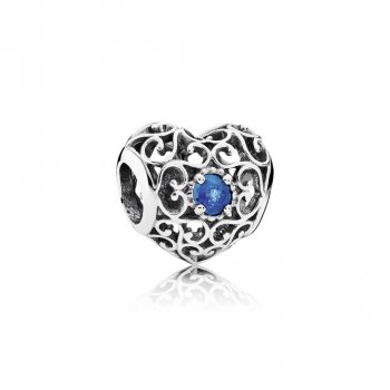 Pandora December Signature Heart Charm, London Blue Crystal 7917