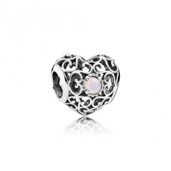 Pandora October Signature Heart Charm, Opalescent Pink Crystal 7
