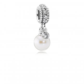 Pandora Luminous Elegance Dangle Charm, White Pearl & Clear CZ 7