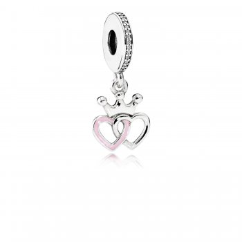 Pandora Crowned Hearts Dangle Charm, Orchid Pink Enamel & Clear