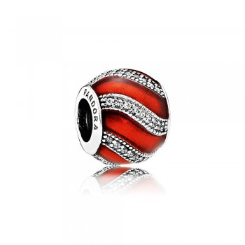 Pandora Adornment Charm, Translucent Red Enamel & Clear CZ 79199