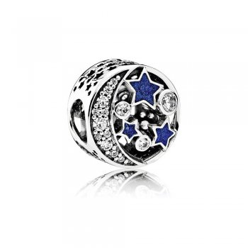 Pandora Vintage Night Sky Charm, Shimmering Midnight Blue Enamel