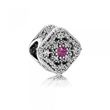 Pandora Fairytale Treasure Charm, Cerise Crystal & Clear CZ 7920