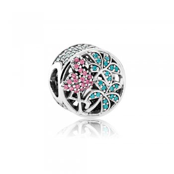 Pandora Tropical Flamingo, Light Green Crystals & Multi-Colored